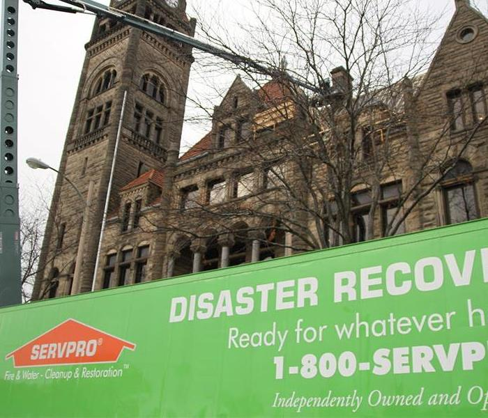 building, SERVPRO disaster recovery green sign