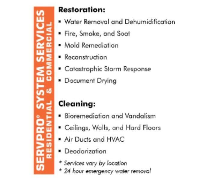 SERVPRO System Services list of residential and commercial services available